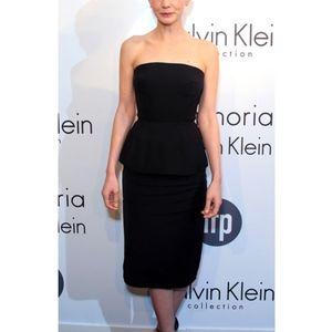 Calvin Klein black strapless peplum dress